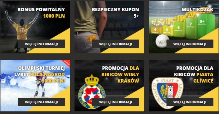 Screen bonusów ze strony lvbet.pl
