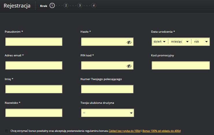 formularz rejestracyjny w fortunie