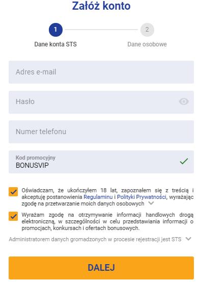 Kod promocyjny STS: BONUSVIP