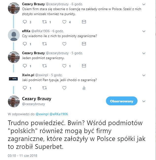 Dyskusja na twitterze - zrzut ekranu