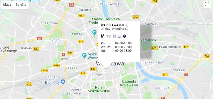 STS mapa z lokalem - godziny otwarcia
