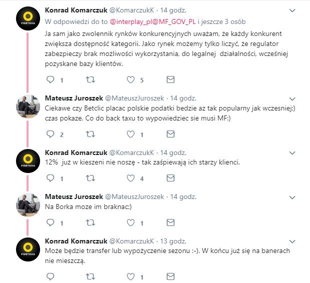 Mateusz Juroszek i Konrad Komarczuk o Betclic - Twitter